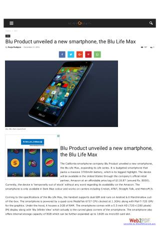 Blu Product unveiled a new smartphone, the Blu Life Max