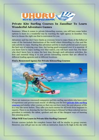 Private Kite Surfing Courses In Zanzibar To Learn Wonderful Adventure Games