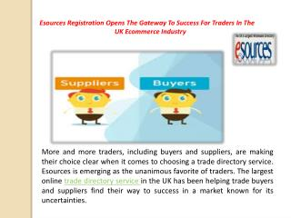 Esources Registration Opens The Gateway To Success For Traders In The UK Ecommerce Industry