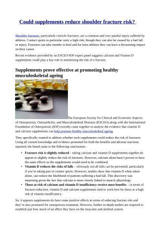 Could supplements reduce shoulder fracture risk?