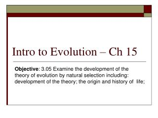 Intro to Evolution   Ch 15