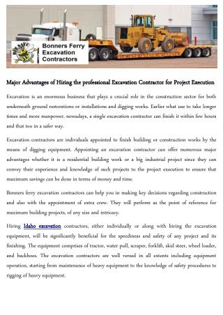 Major Advantages of Hiring the professional Excavation Contractor for Project Execution