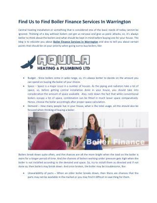 Boiler Finance Services in Warrington
