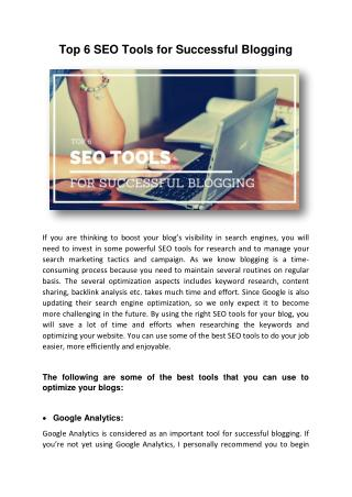 Top 6 SEO Tools for Successful Blogging