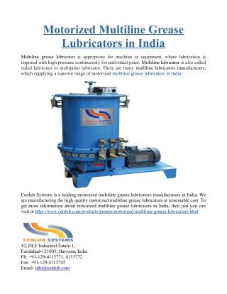 Motorized Multiline Grease Lubricators in India