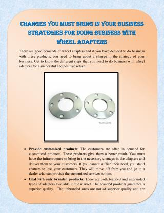 Changes You Must Bring In Your Business Strategies for Doing Business with Wheel Adapters