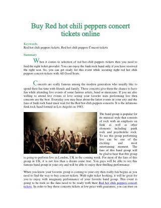 Buy Red hot chili peppers concert tickets online