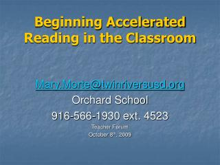 Beginning Accelerated Reading in the Classroom