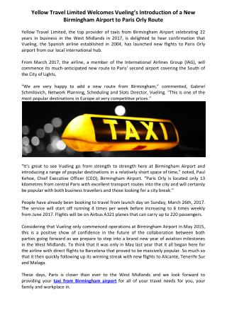 Yellow Travel Limited Welcomes taxi from birmingham airport