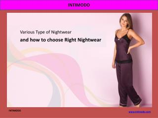 Various Type of Nightwear and how to choose Right Nightwear