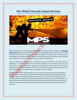Fire Watch Security Guard | Magnum Protective Services