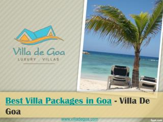 Best Villa Packages in Goa - Villa De Goa