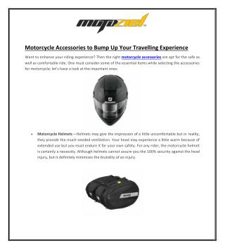 Motorcycle Accessories to Bump Up Your Travelling Experience