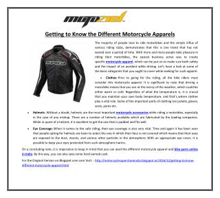 Getting to Know the Different Motorcycle Apparels