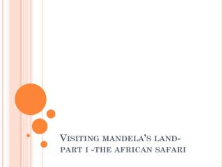 Ron Virmani - Visiting mandela's land part i the african safari