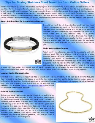 Tips for Buying Stainless Steel Jewelries from Online Sellers