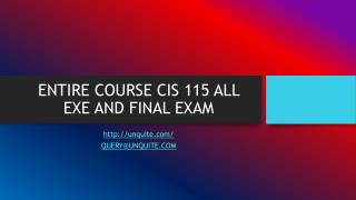 ENTIRE COURSE CIS 115 ALL EXE AND FINAL EXAM