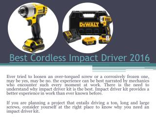 Cordless drill vs impact driver
