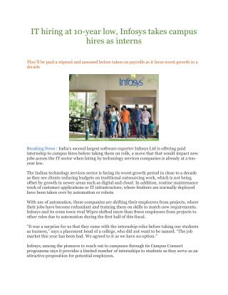 IT hiring at 10-year low, Infosys takes campus hires as interns