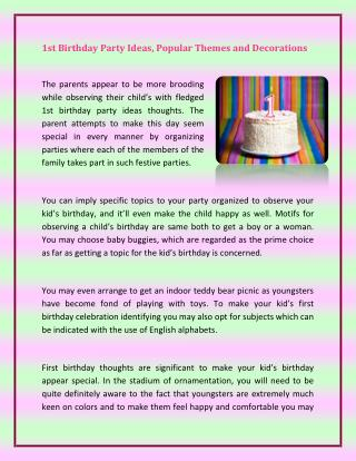 1st Birthday Party Ideas, Popular Themes and Decorations