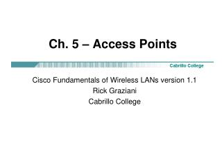 Ch. 5   Access Points