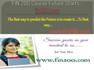 FIN 200 Course Future Starts / fin200dotcom