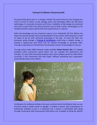 Training & Certification Sharpening Skills