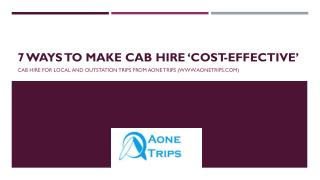 7 Ways to Make Cab Hire 'Cost-Effective'