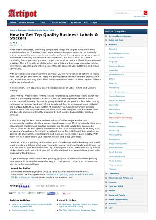How to Get Top Quality Business Labels & Stickers