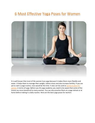 6 effective yoga poses for women