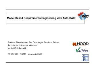 Model-Based Requirements Engineering with Auto-RAID