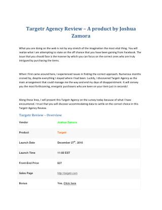 Targetr by Joshua Zamora Review – Why Should You Buy It?