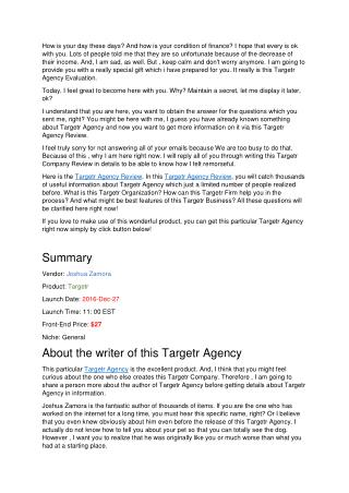Targetr Agency Review - How earn more than $10000 in 14 days?