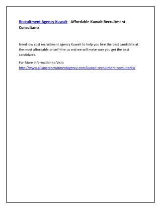 Recruitment Agency Kuwait - Affordable Kuwait Recruitment Consultants