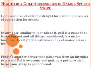 Buy Golf Accessories At Online Sports Store