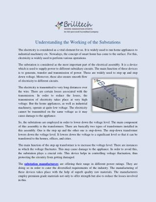 Substations Manufacturers, Suppliers and Exporters India