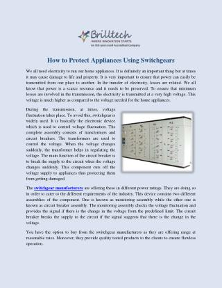 Switchgear Manufacturers, Suppliers and Exporters India