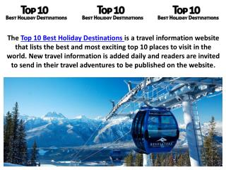 Top 10 Best Holiday Destinations