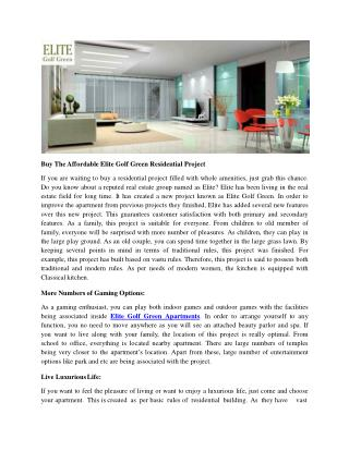 Buy The Affordable Elite Golf Green Residential Project