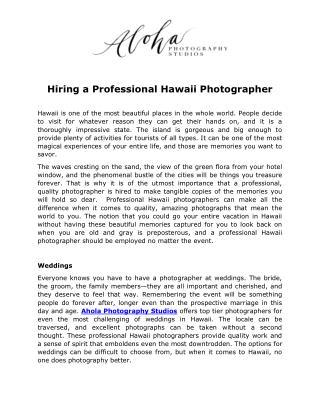 Hiring a Professional Hawaii Photographer