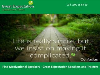 Find Motivational Speakers - Great Expectation Speakers and Trainers