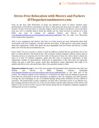 Stress-Free Relocation with Movers and Packers @ Thepackersandmovers.com