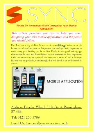 Points To Remember While Designing Your Mobile Application