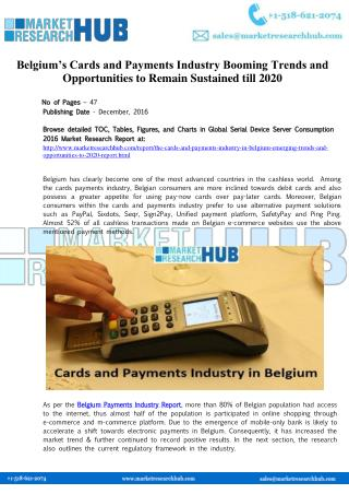 Cards and Payments Industry in Belgium Industry Report