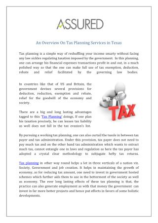 Tax Planning Services in Texas