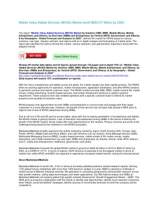 Mobile Value Added Services (MVAS) Market by Solution (SMS, MMS, Mobile Money, Mobile Infotainment, and Others), by End