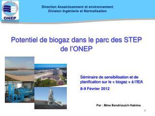 Potentiel de biogaz dans le parc des STEP de l ONEP