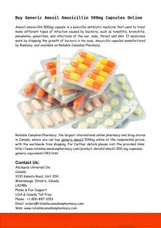 Buy Generic Amoxil Amoxicillin 500mg Capsules Online