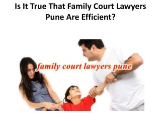 Is It True That Family Court Lawyers Pune Are Efficient?