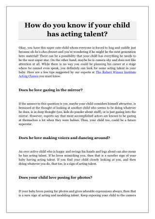 How do you know if your child has acting talent?